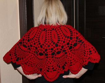 Knitted crochet cape, Knitted poncho, Red cape of wool, Womens cape, Warm short bolero, openwork bolero English (US) Description  Optional