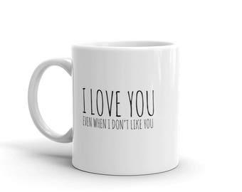 I Love You Even When I Don't Like You Mug