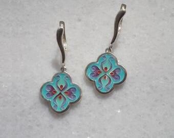 Cloisonné earrings, Enamel earrings, Silver earrings, Teal earrings,  Quatrefoil earrings