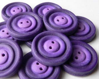 Violet Whirl Buttons - handmade in polymer clay