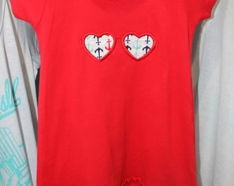 Anchor/Heart Glasses Girls' Dress // Little Girls' Dress // Swim Coverup // Girls Beach Dress