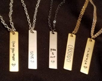 Vertical personalized bar necklace