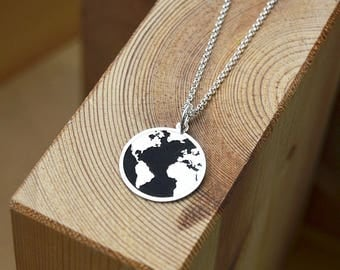 World map necklace etsy gumiabroncs Image collections