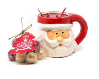 Christmas Gift-  Gold and Red 1 inch Gumball Filled in 15 Ounce Santa Mug With Tag and Bell