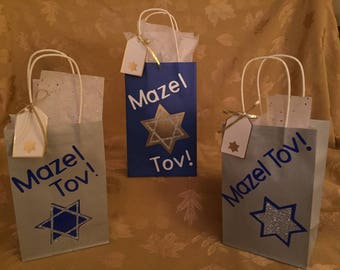 Jewish Gift Bags, Bar and Bat Mitzvah Gift Bags, Mazel Tov Gift Bags, Wedding Gift Card Bags, Gift Bags, Free Shipping, 3 Bags Per Order
