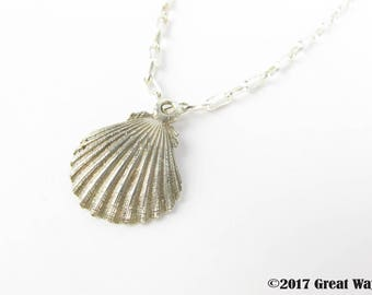 Diving silver-- 925 sterling silver Scallop pendant / Shell / necklace / diving / handmade / cute / earrings