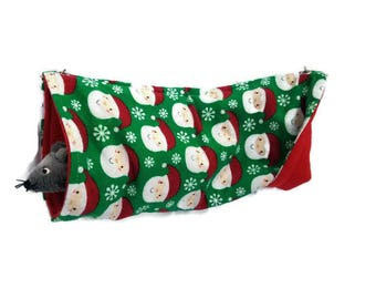 Rat Hammock - Rat Cage Accessories - Santa Christmas Snuggle Tunnel Hammock - Sugar Glider Hammock