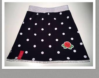 Polka dots skirt dark blue with rose Mt. 122-128
