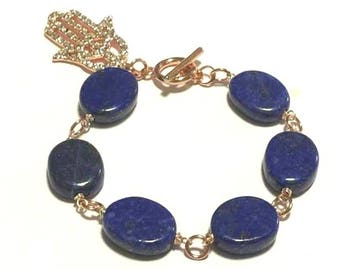 Oval Lapis Lazuli  Bracelet, High Quality, Girlfriend Gift