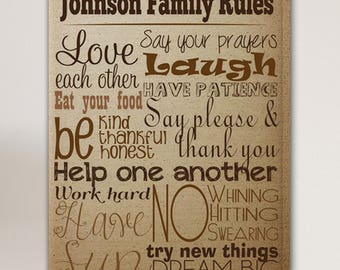 Personalized Rules of the House Canvas Print - Family Rules Canvas Print - Family Print - Canvas Print - Family Wall Decor - Family Rules
