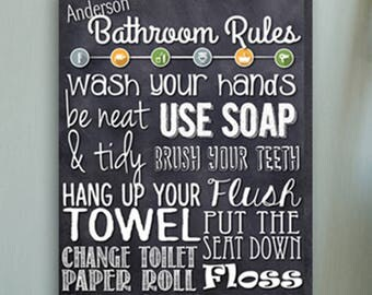 Personalized Bathroom Rules Canvas Print - Bathroom Rules Canvas Print - Personalized Family Print - Canvas Print - Bathroom Wall Decor