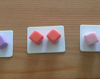 Pastel cube stud earring