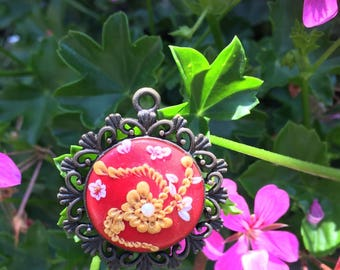 Gold embroidery pendant
