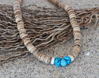 Men's Beaded Necklace - Men's Surfer Necklace - Men's Wood Necklace - Surfer Necklace - Men's Choker - Men's Summer Necklace - Surf Choker