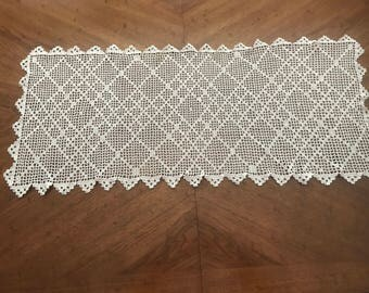Hand Crochet Table Runner Ecru