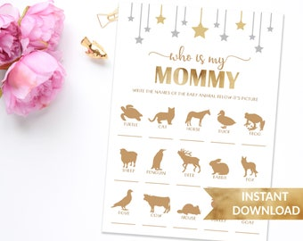 Who is my mommy baby shower game | Twinkle twinkle little star baby shower game | Printable gold stars shower game | Instant download