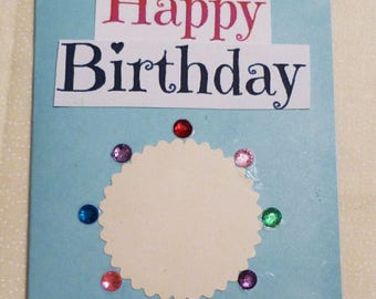 "Handmade Greeting Card,  4&1/8x5.5"" Greeting Cards, Blue  Happy Birthday Greeting Card, Made in the USA, #56"