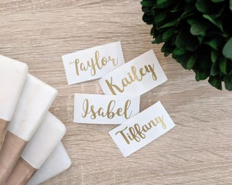Personalized Custom Name Stickers - Adhesive Stickers - Vinyl Stickers - Script Lettering - Gold, White, Black, Silver, Color Vinyl Options