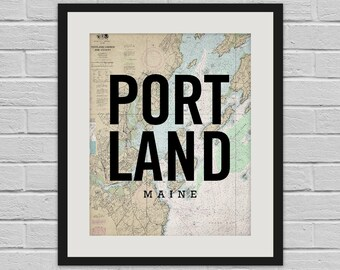 Portland Harbor - Nautical Chart Design Wall Art and Canvas Print