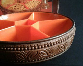 70s Vintage Snack Bowl made by EMSA in Orange and Brown