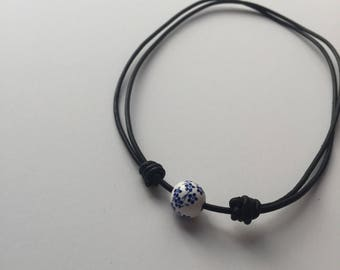Blue Flowered Leather Dainty Necklace