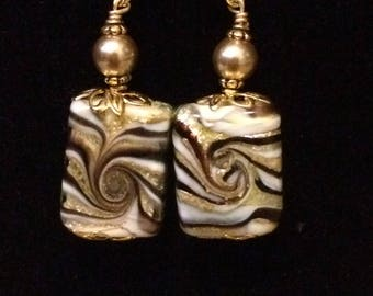 Chinese Glass and Pearl Earrings