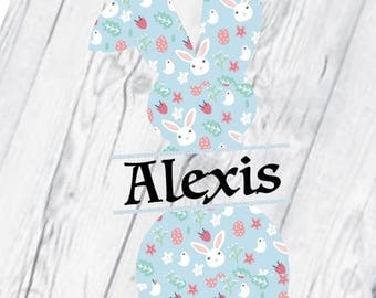 Easter Bunny Printed Vinyl Decal, Easter Bunny, Tumbler, Easter Decal, Monogram, Bunny Monogram