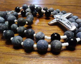 Catholic Rosary, Natural Blue Crackle Agate Stone, Jasper Bead, 5 Decade Rosary, Gemstone, Semi-Precious, Flex Wire
