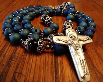 5 Decade Catholic Rosary, Natural Blue Druzy Agate Bead Rosary, Semi-precious Gemstone, Heirloom Quality, Flex Wire