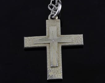 BIRKS Sterling Silver 925 Cross Pendant Sterling Silver Chain 9 Grams Vintage