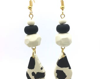 Black and white spotted earrings