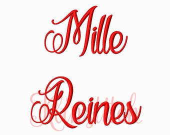 50% Sale!! Mille Reines Embroidery Fonts 5 Sizes Fonts BX Fonts Embroidery Designs PES Fonts Alphabets - Instant Download