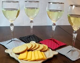 Polka dot wine slippers (wine coasters)