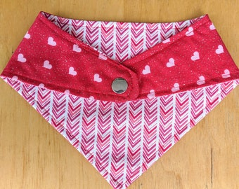 Reversible Valentine's Day Bandana with Snaps. Sparkle Hearts/Chevron