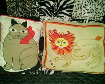 2 vintage decorative cat themed throw pillows