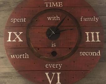 Barn red Rustic spool wall clock