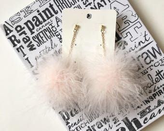 Peach Fur Pom Pom Earrings, Fluffy Earrings for women.