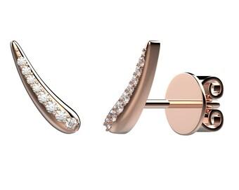 Antenna stud earrings - rose gold