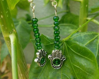 Green Crystal dangle earrings, Hamsa Hand dangle earrings. Green and silver dangle earrings, christmas gift. Gift for her, dangle earrings.
