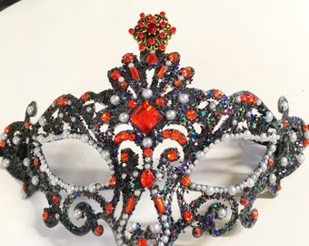 Lavish, masquerade mask, Mardi Gras mask, gala mask, festival mask, party mask, role playing mask, queen mask, glittered mask, jeweled mask
