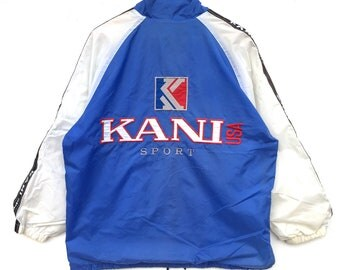 Karl Kani Windbreaker Big Logo side tape spell out Embroidery Sweat Medium Size Jumper Pullover Jacket Sweater Shirt Vintage 90's