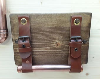 Handmade wood and copper toilet roll holder with unstitched leather