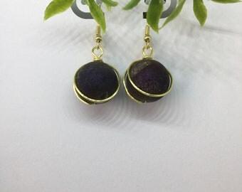 Amethyst Iris Earrings, Women Jewelry, Dark Purple Earrings, Wire Wrapped Earrings, Beaded Earrings, Dangle Earrings, Circle Elegant Earring
