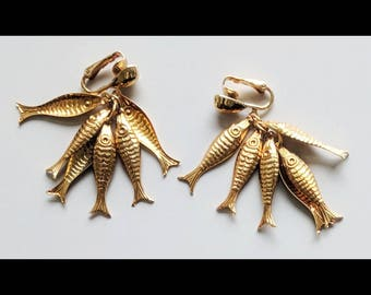 Park Lane Gold Tone Fish bunch clip-on earrings