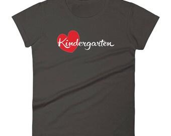 Kindergarten Heart Tshirt Women's short sleeve t-shirt, cute kindergarten teacher and preschools shirt