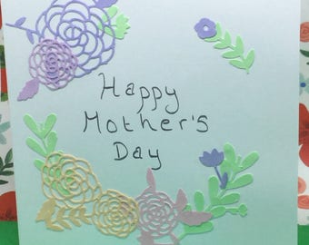 Pastel flower Mother's Day card, card for auntie, personalised, birthday card