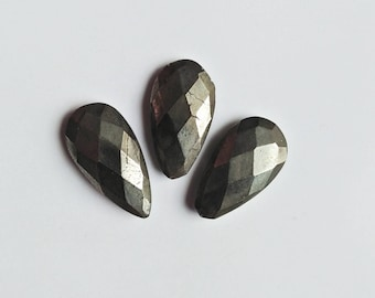 Natural Pyrite Cutting Gemstones, 3 Piece Pyrite Stone Pear Shape Best Quality Craft Supplies Mirror Polished Gemstone For Making Jewellery.