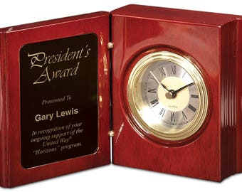 Rosewood Piano Finish Book Clock, Office Clock, Desk, School, Teacher Gift, Business, Corporate, Home Decor, Wedding Gift