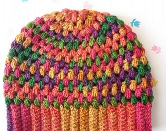 Girls beanie, Colourful hat, beanie hat for kid, Crochet beanie hat,