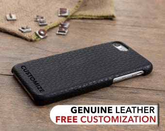 iPhone 7 Leather Case, iPhone 7 Case, iPhone 7 Cover, Genuine Leather iPhone 7 Case, iPhone 7 Sleeve, iPhone Case, Customized Case, Black